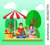 summer picnic young family ...   Shutterstock .eps vector #381063754