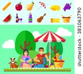 summer picnic young family with ... | Shutterstock .eps vector #381063790