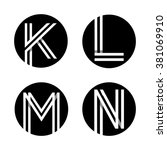 capital letters k  l  m  n.... | Shutterstock .eps vector #381069910