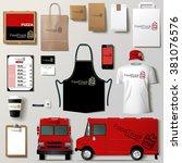 vector food truck corporate...   Shutterstock .eps vector #381076576