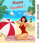 vintage vacation background... | Shutterstock .eps vector #381081688