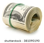Money Roll Dollars Isolated On...