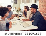 group of young friends hanging... | Shutterstock . vector #381091639