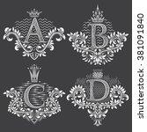 set of ornamental monogram in... | Shutterstock .eps vector #381091840