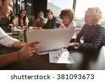 closeup shot of team of young... | Shutterstock . vector #381093673