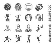 basketball icons. included the... | Shutterstock .eps vector #381095020