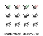 set of black shopping carts... | Shutterstock .eps vector #381099340
