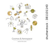 set of cosmos and aerospace... | Shutterstock .eps vector #381101140