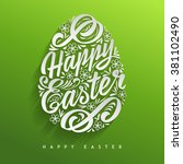 happy easter greeting card ... | Shutterstock .eps vector #381102490