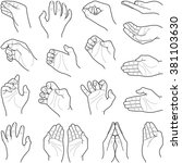 hand collection   vector line... | Shutterstock .eps vector #381103630