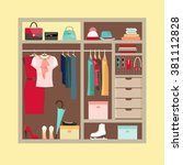 wardrobe room full of woman's... | Shutterstock .eps vector #381112828