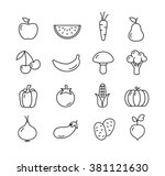fruit and vegetables icons set  ... | Shutterstock .eps vector #381121630