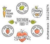 raw vegan  detox  organic ... | Shutterstock .eps vector #381125074