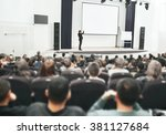 speaker at business convention... | Shutterstock . vector #381127684