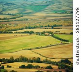 wavy fields in tuscany at... | Shutterstock . vector #381127798