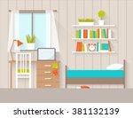 Stock vector interior of a bedroom flat design illustration 381132139