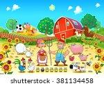 funny farm scene with animals...
