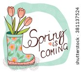 spring card with rain boot and... | Shutterstock .eps vector #381137524
