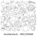 doodle vector set of vegetables ... | Shutterstock .eps vector #381139684
