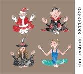 people meditation balance...   Shutterstock .eps vector #381142420