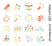 firework color icon set with ... | Shutterstock .eps vector #381145804