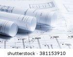 architectural blueprints close... | Shutterstock . vector #381153910