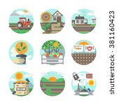 agriculture farm. growing... | Shutterstock .eps vector #381160423