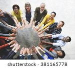 diverse people friendship... | Shutterstock . vector #381165778