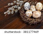 Decorative easter eggs in a...