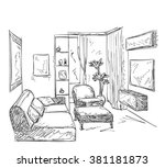 modern interior room sketch.  | Shutterstock .eps vector #381181873
