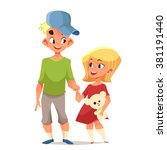 brother and sister cute cartoon ... | Shutterstock .eps vector #381191440