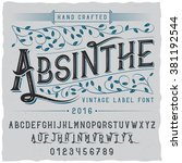 absinthe label font and sample... | Shutterstock .eps vector #381192544