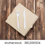 blank pizza box with plastic... | Shutterstock . vector #381200326