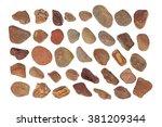 collection of ocean stones... | Shutterstock . vector #381209344