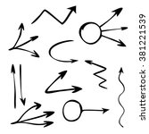 hand drawn arrows set on a... | Shutterstock .eps vector #381221539