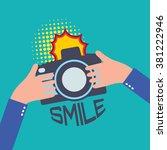 camera in flat style   taking... | Shutterstock . vector #381222946