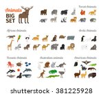animals in flat style | Shutterstock . vector #381225928