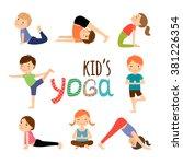 yoga kids | Shutterstock . vector #381226354