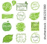 set of badges  emblems  healthy ... | Shutterstock .eps vector #381231580