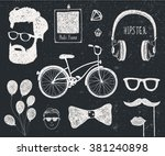 vector set of vintage styled... | Shutterstock .eps vector #381240898