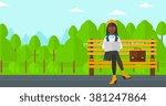 woman working on laptop. | Shutterstock .eps vector #381247864