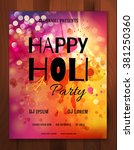 happy holi festival. creative...   Shutterstock .eps vector #381250360