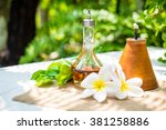 aroma set and flower in garden | Shutterstock . vector #381258886