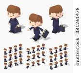 cartoon businessman minifigure. ... | Shutterstock .eps vector #381261478