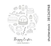hand drawn outlined easter eggs ... | Shutterstock .eps vector #381263968