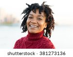 close up portrait of an african ...   Shutterstock . vector #381273136