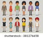 group of cartoon business... | Shutterstock .eps vector #381276658