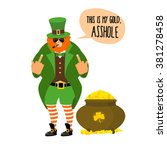 bad leprechaun shows fuck.... | Shutterstock .eps vector #381278458