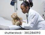 girl doctor using stethoscope... | Shutterstock . vector #381286093