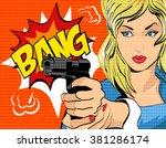 pop art style vector... | Shutterstock .eps vector #381286174